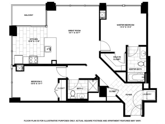 Floor Plan  Two Bedroom -09 Floorplan at Flair Tower