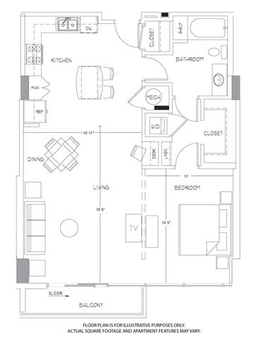 Floor Plan  A11A Floorplan at Glass House by Windsor, opens a dialog