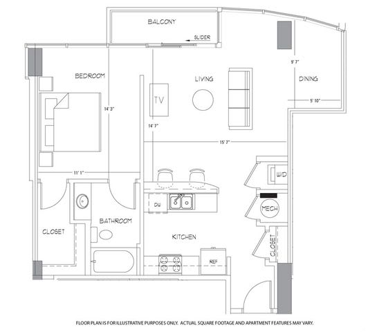 Floor Plan  A5 Floorplan at Glass House by Windsor, opens a dialog