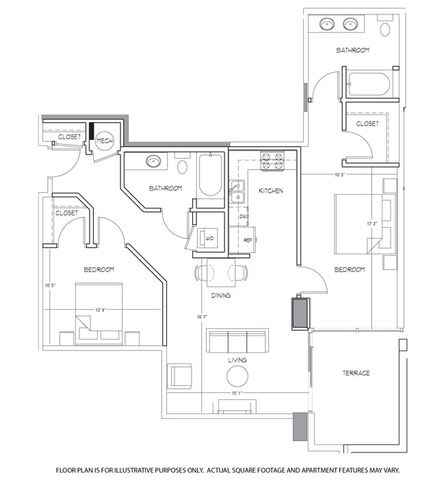 Floor Plan  B15 Floorplan at Glass House by Windsor, opens a dialog