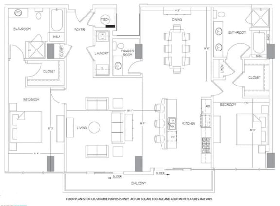 Floor Plan  PH3 Floorplan at Glass House by Windsor, opens a dialog