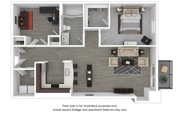 Floor Plan  Apollo 1x1 floor plan at The Manhattan Tower and Lofts, Denver, CO, opens a dialog