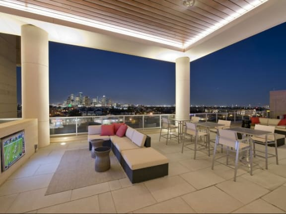 Pool Loggia with covered Media & Dining Spaces at The Sovereign at Regent Square, 3233 West Dallas, Houston, 77019