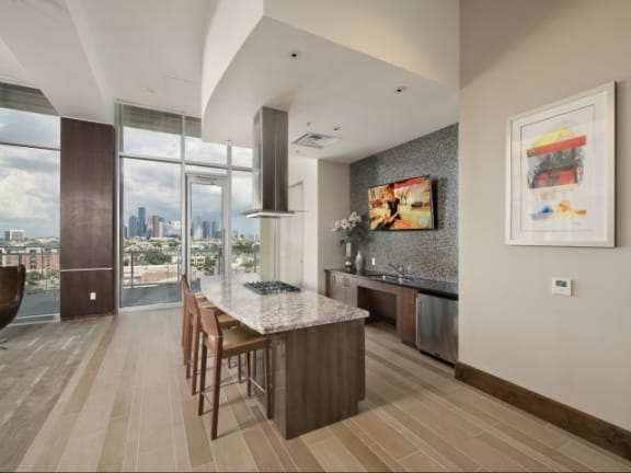 Gourmet Kitchen with Breakfast Bar and Pantry at The Sovereign at Regent Square, 3233 West Dallas, Houston, TX