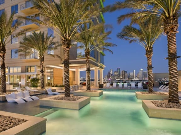 75 Lap Pool with a Sun Lounge at The Sovereign at Regent Square, TX 77019