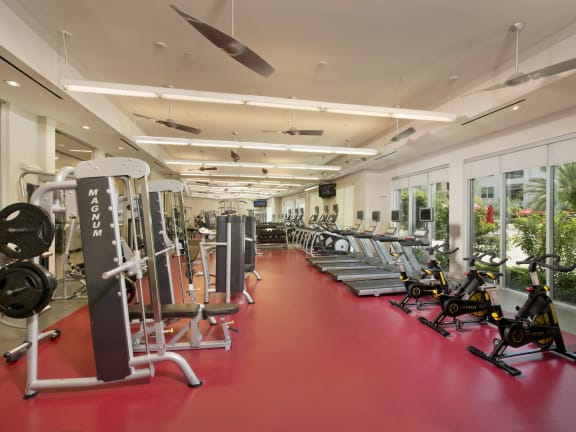 At Domain by Windsor, Houston, TX 77077 Innovative Fitness Center with Cardio Theaters and Free Weights