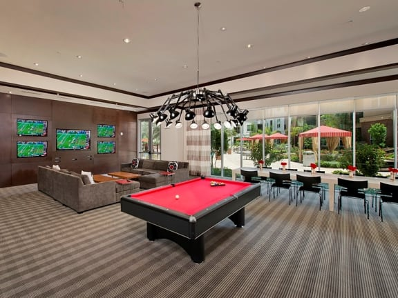 At Domain by Windsor,1755 Crescent Plaza, Houston, TX 77077 Resident Lounge with Billiards Table and Media Center