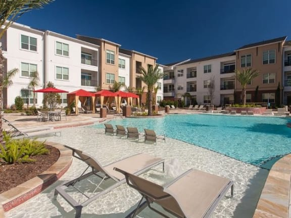 At Domain by Windsor,1755 Crescent Plaza, TX 77077 Resort-Style Pool with Tanning Ledges and Cabanas