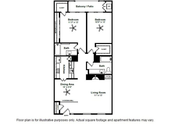 Floor Plan  French Quarter Floor Plan at Allen House Apartments, Houston, Texas, opens a dialog