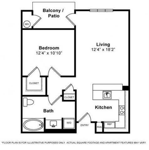 Floor Plan  One Bedroom Floorplan at Windsor Lofts at Universal City