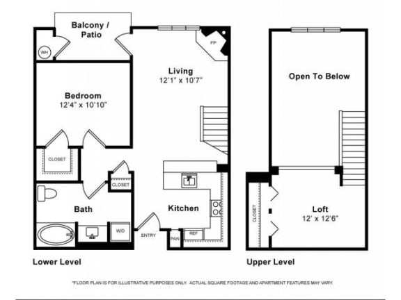 Floor Plan  One Bedroom with Loft Floorplan at Windsor Lofts at Universal City