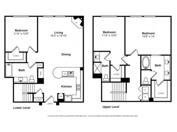 Floor Plan  Three Bedroom Townhouse Floorplan at Windsor Lofts at Universal City