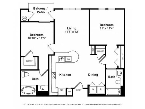 Floor Plan  Two Bedroom Floorplan at Windsor Lofts at Universal City