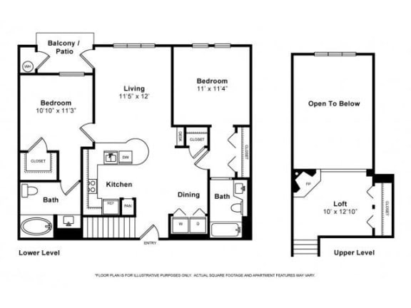 Floor Plan  Two Bedroom with Loft Floorplan at Windsor Lofts at Universal City