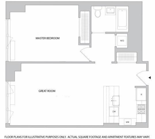 Floor Plan  1 Br 1Bth 1 Floorplan at The Aldyn