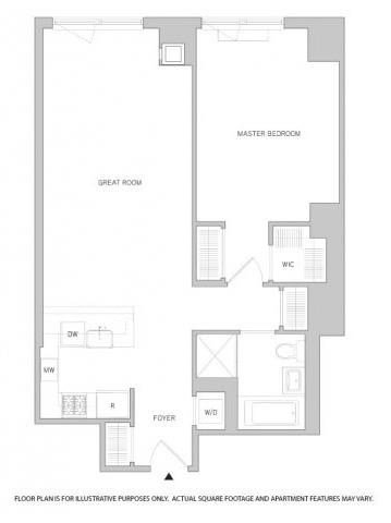 Floor Plan  1 Br 1Bth 3 Floorplan at The Aldyn, opens a dialog