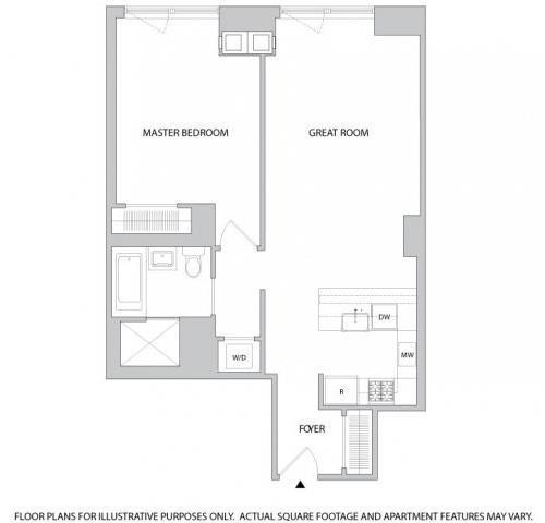 Floor Plan  1 Br 1Bth 2 Floorplan at The Aldyn