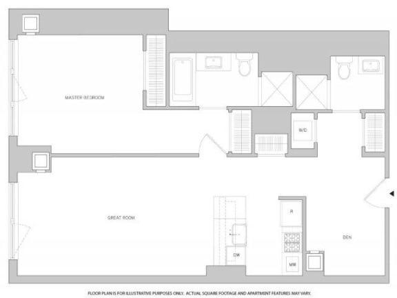 Floor Plan  1Br Den 1Bth 2 Floorplan at The Aldyn