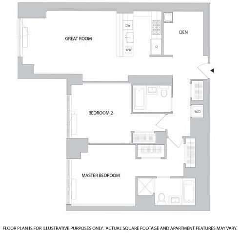 Floor Plan  2Br Den 2Bth 1 Floorplan at The Aldyn