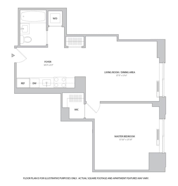Floor Plan  1BR 1Bth - 2 Floorplan at The Ashley