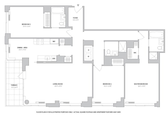 Floor Plan  3BR 3Bth - 1 Floorplan at The Ashley