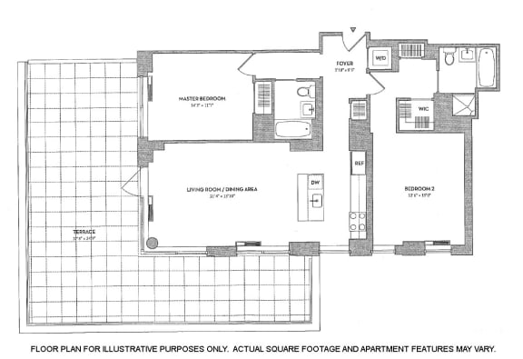 Floor Plan  2BR 2Bth - 3 Floorplan at The Ashley