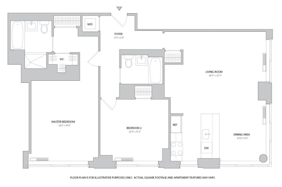 Floor Plan  2BR 2bth - 7 Floorplan at The Ashley