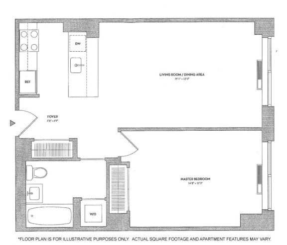 Floor Plan  1BR 1Bth - 1 Floorplan at The Ashley