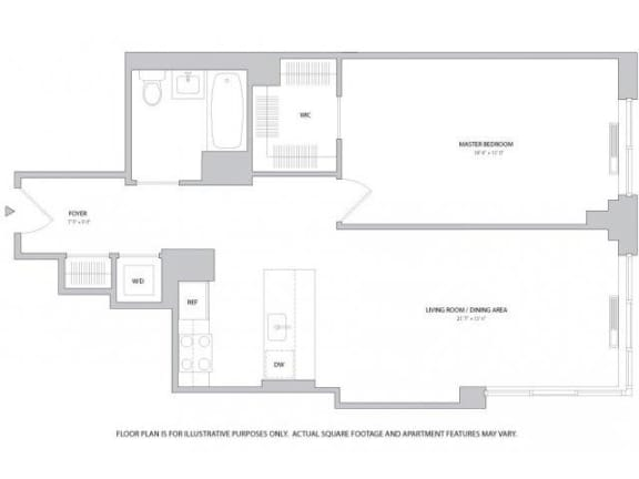 Floor Plan  1BR 1Bth - 3 Floorplan at The Ashley