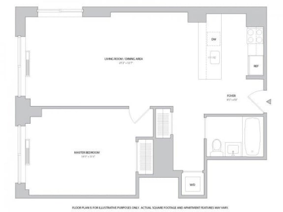Floor Plan  1BR 1Bth - 4 Floorplan at The Ashley