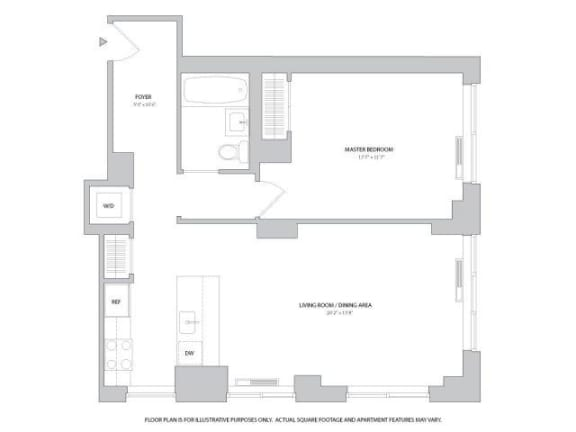 Floor Plan  1BR 1Bth - 5 Floorplan at The Ashley