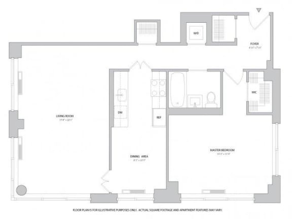 Floor Plan  1BR 1Bth - 6 Floorplan at The Ashley