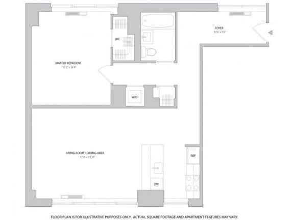 Floor Plan  1BR 1Bth - 8 Floorplan at The Ashley