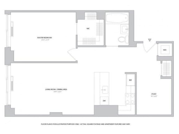 Floor Plan  1BR Den 1Bth - 2 Floorplan at The Ashley