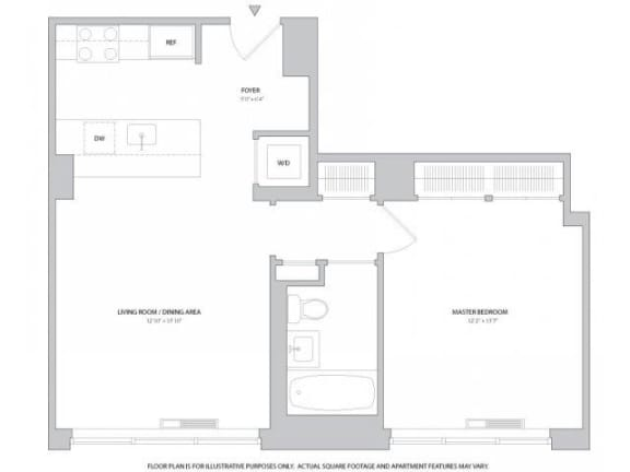 Floor Plan  1BR  Den 2Bth Floorplan at The Ashley