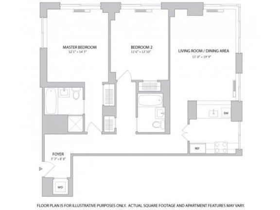 Floor Plan  2BR 2Bth - 1 Floorplan at The Ashley