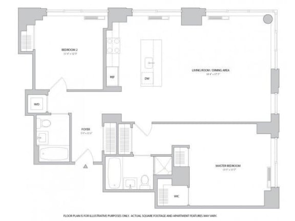 Floor Plan  2BR 2Bth - 2 Floorplan at The Ashley