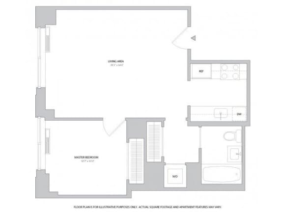 Floor Plan  Junior 1BR - 2 Floorplan at The Ashley
