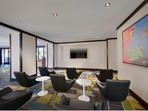 Resident lounge with numerous plasma TVat Halstead Tower by Windsor, 4380 King Street, Alexandria, VA 22302