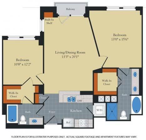 Floor Plan  Floorplan at Halstead Tower by Windsor, 4380 King Street, Alexandria, opens a dialog
