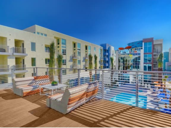 Rooftop lounge with sun deck at Boardwalk by Windsor, Huntington Beach, CA, 92647