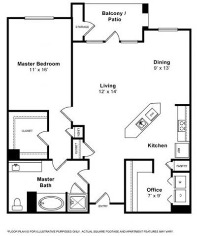 Floor Plan  Bay 1 Bedroom 1 Bath Floorplan at Allegro at Jack London Square, 240 3rd Street, Oakland, 94607
