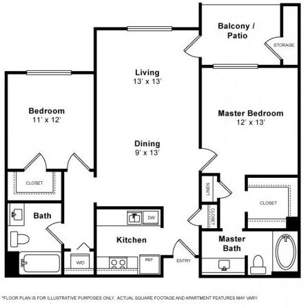 Floor Plan  Carquinez 2 Bedroom 2 Bath Floorplan at Allegro at Jack London Square, 240 3rd Street, Oakland, 94607