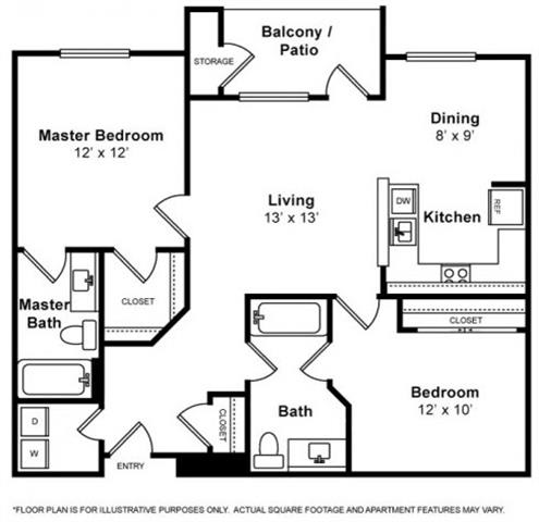 Floor Plan  Dumbarton 2 Bedroom 2 Bath Floorplan at Allegro at Jack London Square, 240 3rd Street, Oakland, 94607