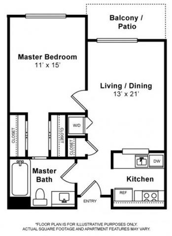 Floor Plan  Golden Gate 1 Bedroom 1 Bath Floorplan at Allegro at Jack London Square, 240 3rd Street, Oakland, 94607