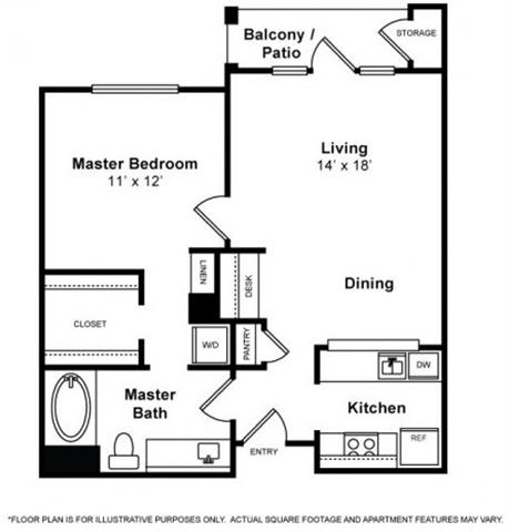 Floor Plan  San Mateo 1 Bedroom 1 Bath Floorplan at Allegro at Jack London Square, 240 3rd Street, Oakland, 94607