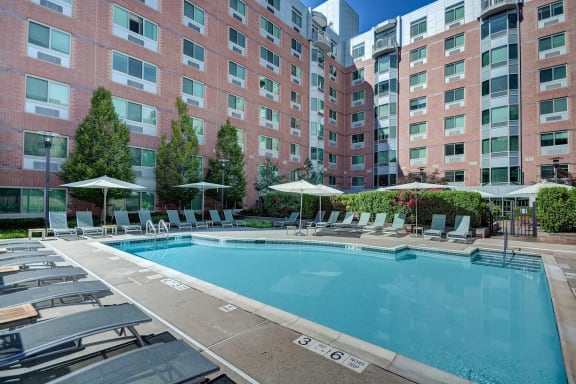 Outdoor Heated Swimming Pool with Cabanas- Luxury Apartments in White Plains, NY