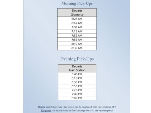 Shuttle Schedule at Windsor at The Gramercy, 2 Canfield Ave., White Plains,
