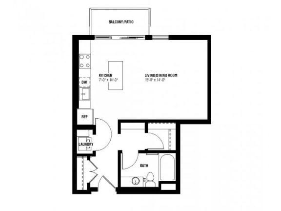 Floor Plan  Believe Floor Plan (0 beds, 1 baths, 532-550 sq.ft, rent $1,335-$1,395/month)