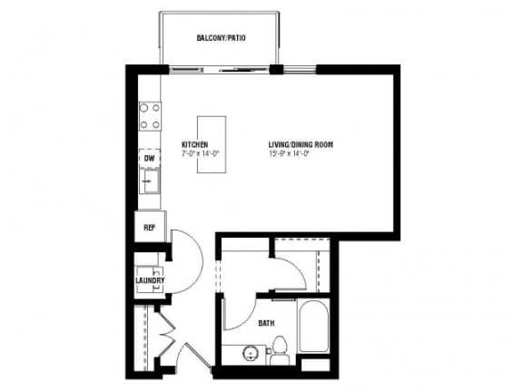 Floor Plan  Chic Floor Plan (0 beds, 1 baths, 544 sq.ft, rent $1,260/month)